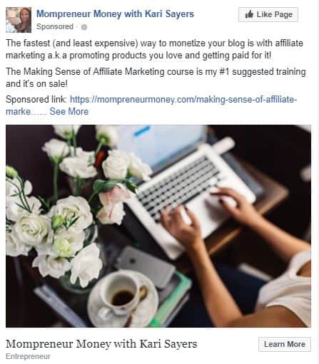 Facebook Ad for Making Sense of Affiliate Marketing