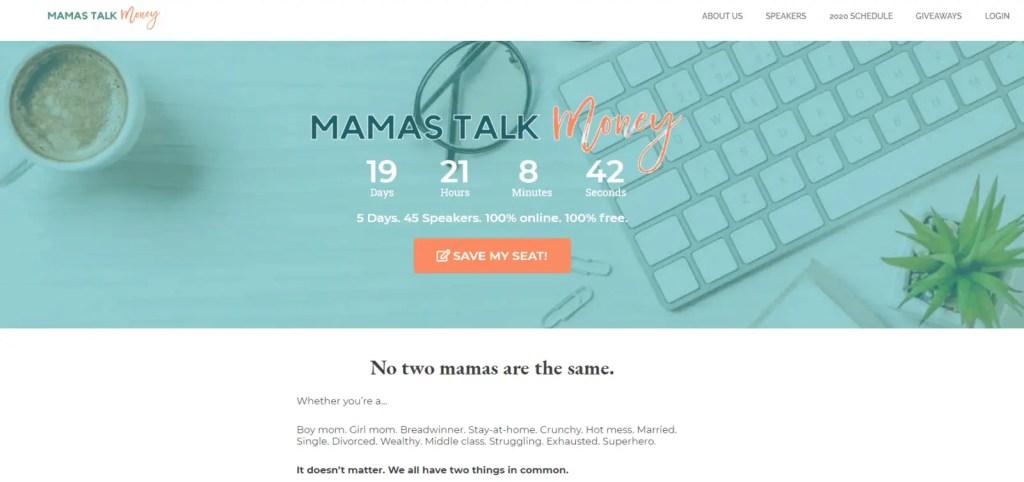 Mamas Talk Money Virtual Summit Registration Page