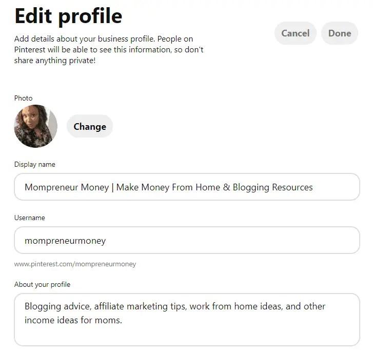 Pinterest Profile Snapshot Mompreneur Money