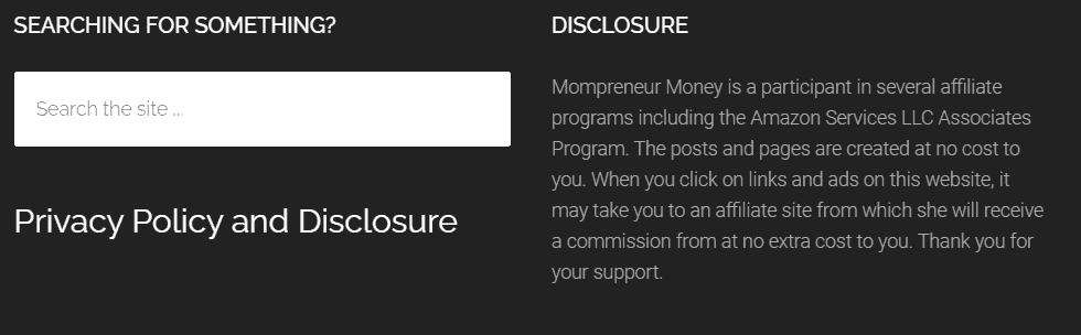 Disclosure Example in Footer