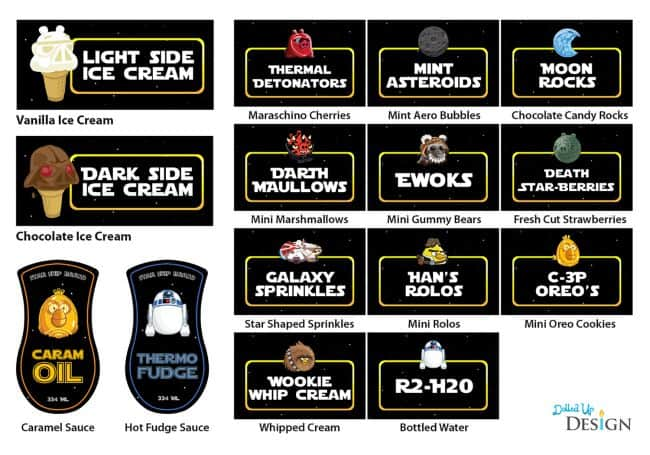 Star Wars Food Printables by Mom's and Munchkins | Mandy's Party Printables via mandyspartyprintables.com
