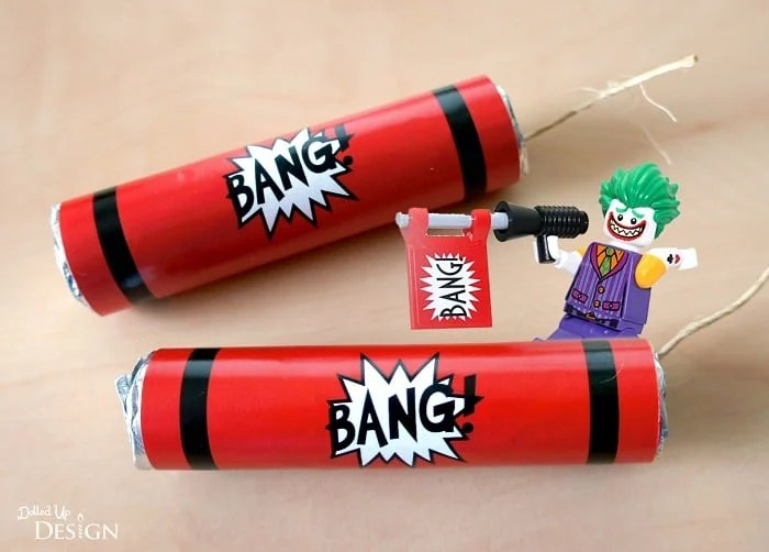 """These dynamite party favors would work great for any superhero, spy, and Minecraft themed party, or would even make fun Valentine's treats with a cute ""You're Dynamite!"" tag."" Dynamite Party Favors with FREE printable 