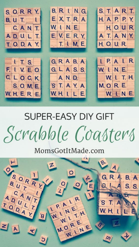 Easy 10-minute DIY Scrabble Tile Coaster craft. Perfect personalized gift for a friend or hostess
