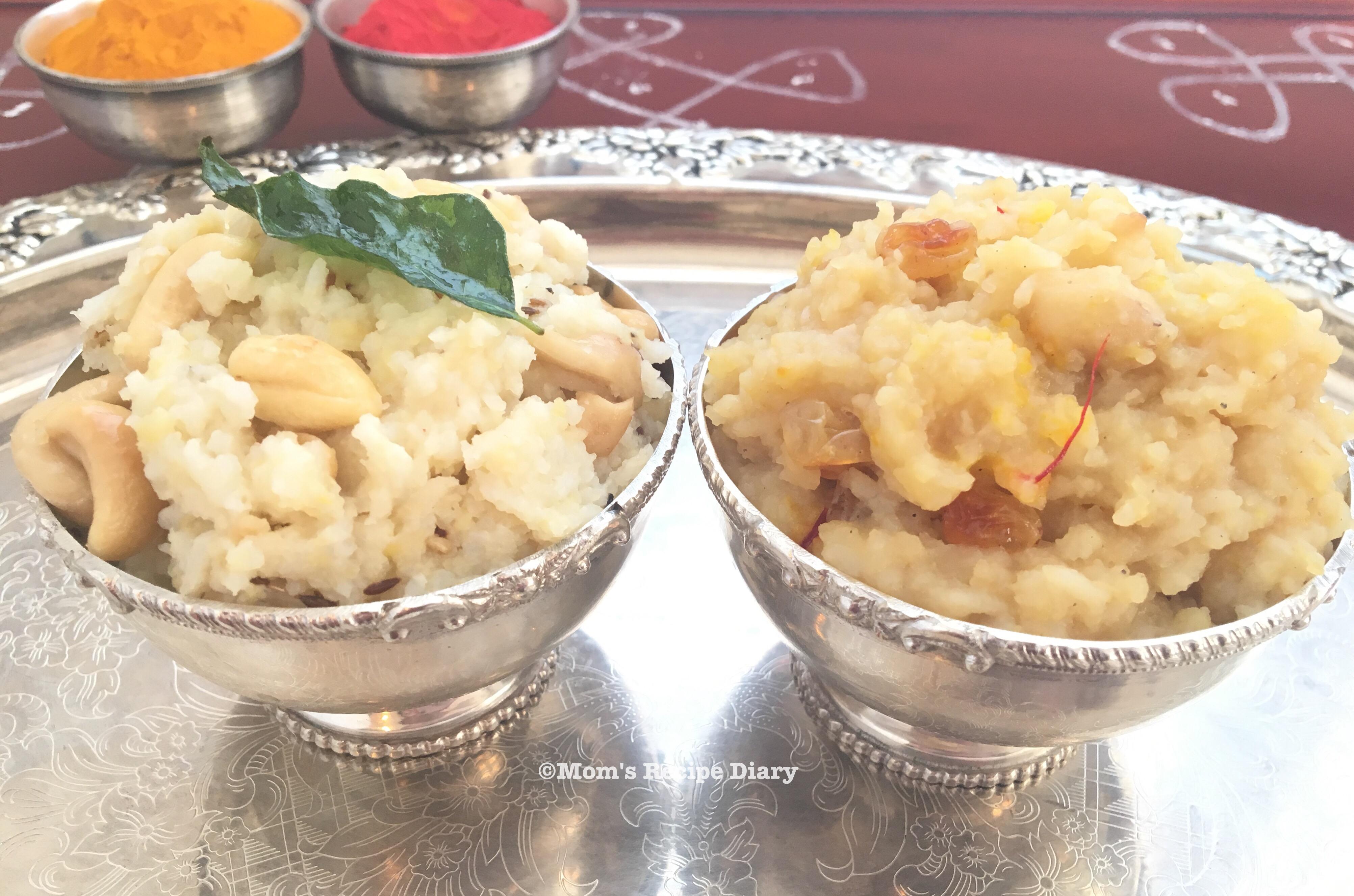 Katte Pongali and Chakkera Pongali /                         Savory Pongal and Sweet Pongal  –    Instant Pot Method