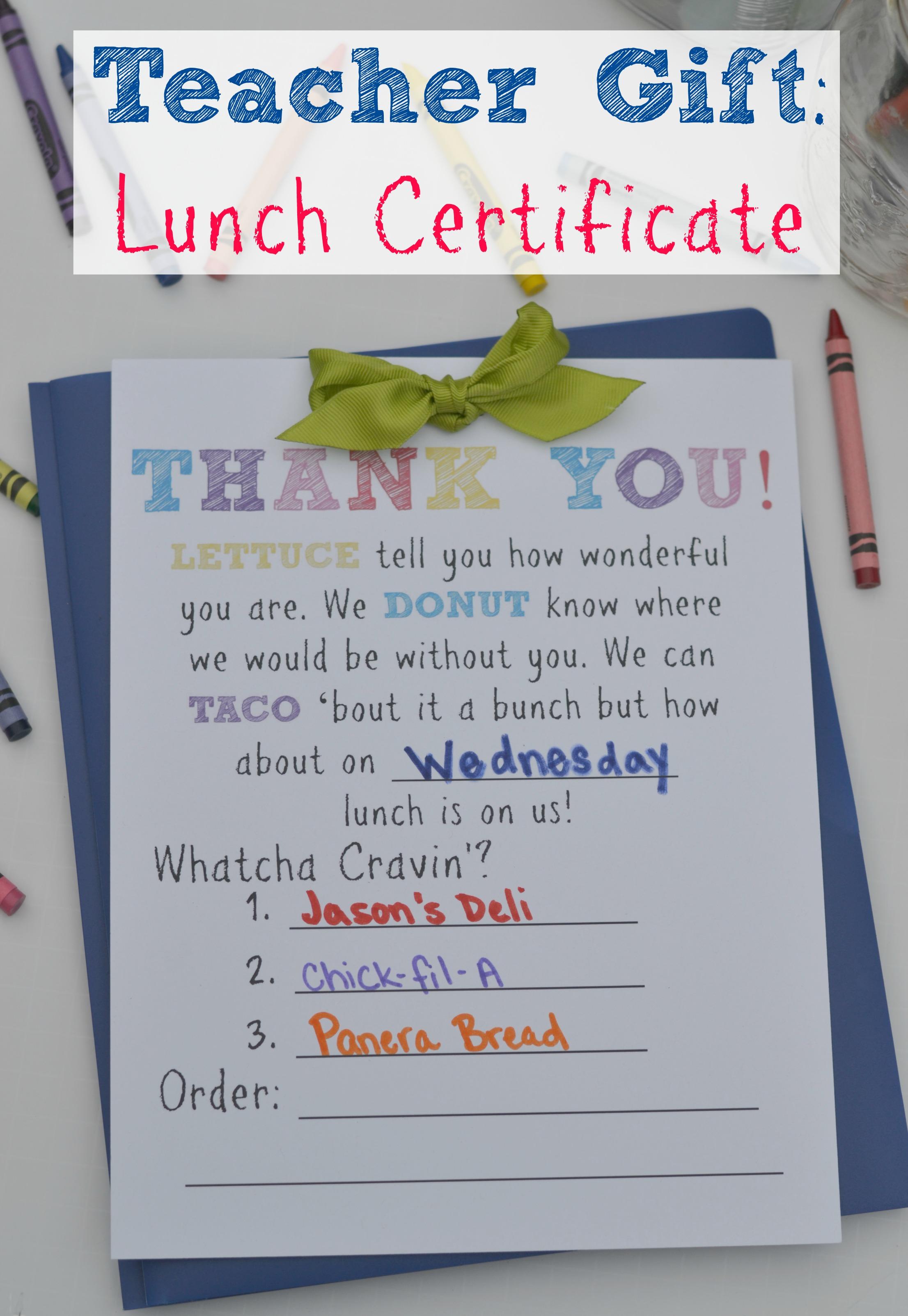 Teacher T Lunch Certificate