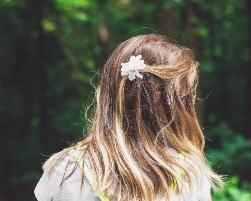 girl, flower, leaves