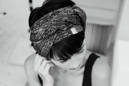 A girl with a head band