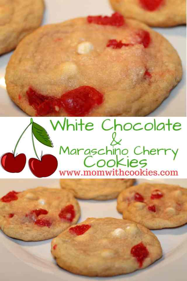 White Chocolate Chip and Maraschino Cherry Cookies - www.momwithcookies.com #cookies #recipe #maraschinocherry #whitechocolatechipcookies #dessert #whitechocolatechipcookies #baking #cherrycookies #cherrywhitechocolateccookies #cherrywhitechocolatechipcookies #maraschinocherryrecipes #maraschinocherrycookies #cookies