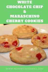 White Chocolate Chip and Maraschino Cherry Cookies - www.momwithcookies.com #cookies #recipe #maraschinocherry #whitechocolatechipcookies #dessert #baking #whitechocolatechip #maraschinocherrycookie #maraschinocherrycookierecipe