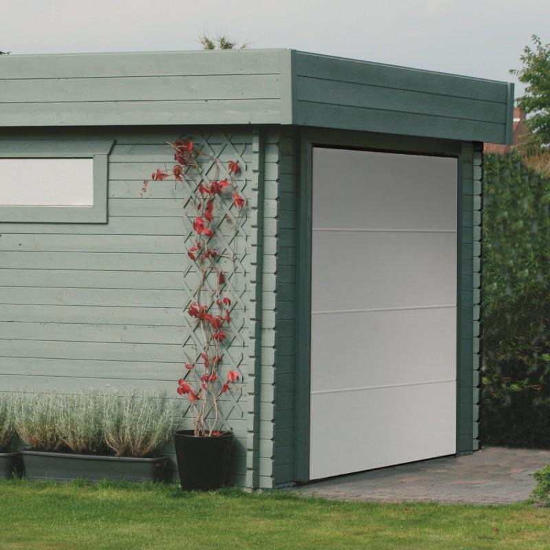 Garage Bois Toit Plat 193m Porte Sectionnelle