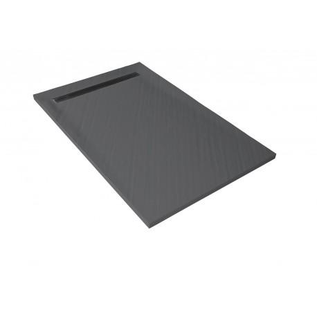 receveur de douche caniveau ep 3 cm 120 x 90 cm aspect pierre gris ardoise u tile