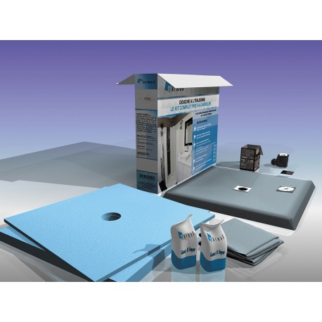kit complet receveur a carreler flatboard grille carree ep 4 cm 90 x 90 cm u tile