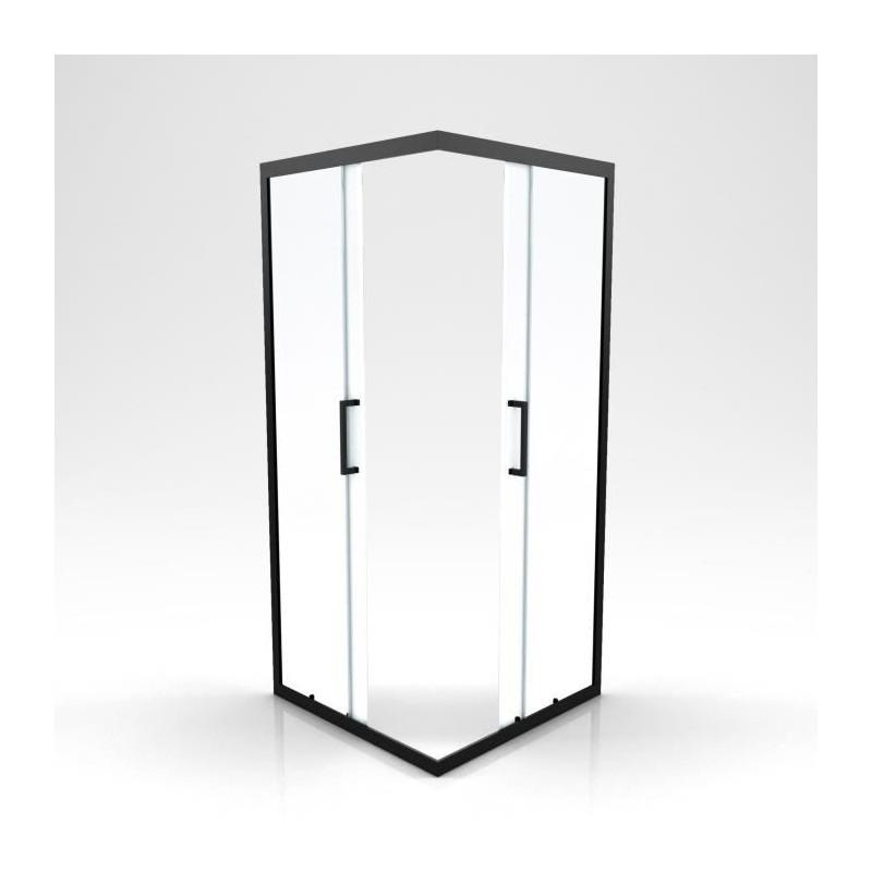 2 portes coulissantes acces d angle profiles noirs 90 x 90 x 200 cm factory aurlane