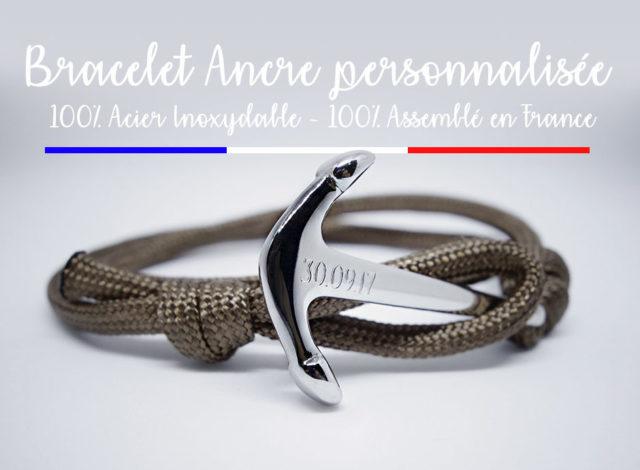 Bracelet personnalisé Ancre Marine Homme Femme