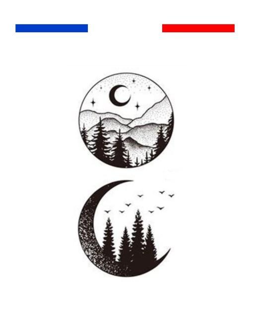 tatouage montagne minimaliste