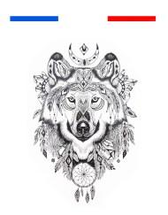 Tatouage Loup Mandala Femme Homme Temporaire
