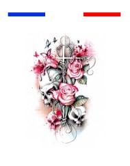 tatouage tète de mort croix pastel roses
