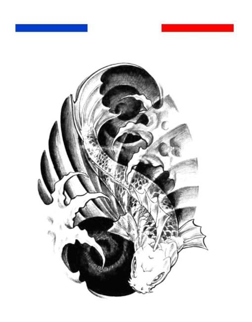 tatouage carpe koi vagues