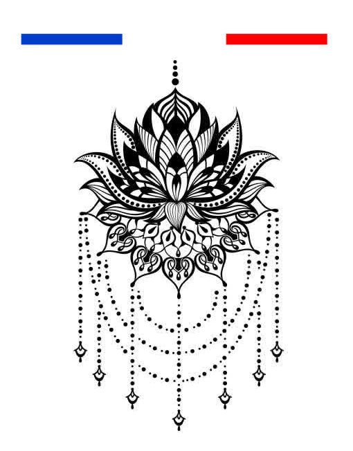 Fleur De Lotus Mandala Tatouage Temporaire Underboobs Mon Petit Tatouage Temporaire