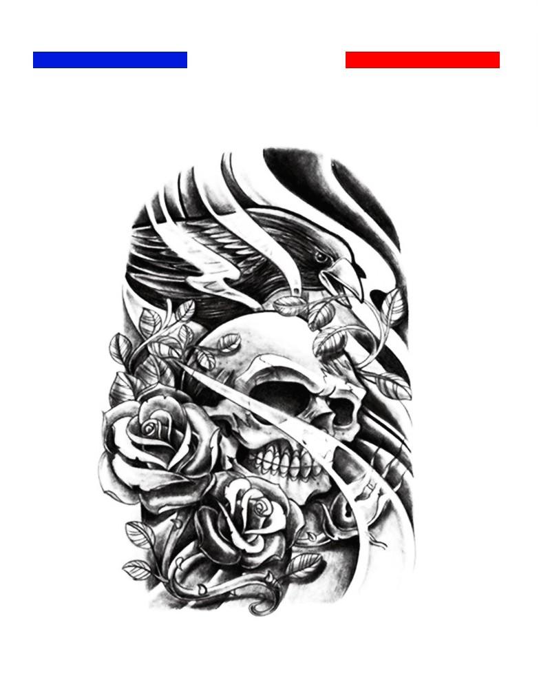 Tatouage Tete De Mort Aigle Et Roses Mon Petit Tatouage Temporaire