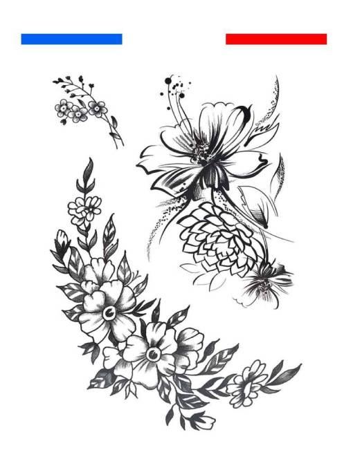 Fleurs Graphique / Classique Tatouage Temporaire