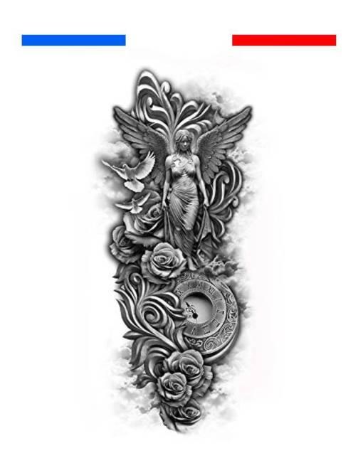 Tatouage Horloge, Colombes, Roses, Ange composition
