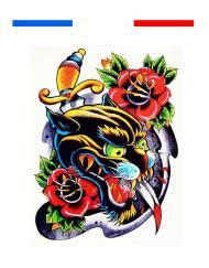 tatouage old school panthère poignard et roses couleur