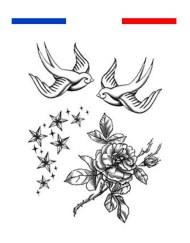 Tatouage Hirondelle traditionnelle étoiles et rose