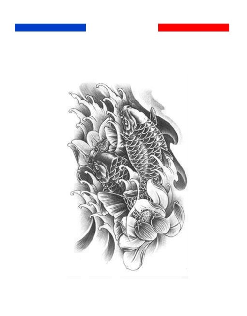 tatouage carpe koi noir et blanc réaliste temporaire
