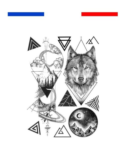 tatouage composition loup montagne lune