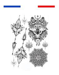 tatouage-loup-mandala-fleurs-boheme