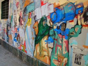 Hanaa El Degham, mural on the wall of the Lycée Français, Cairo. Copyright suzeeinthecity.wordpress.com.