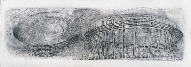 """2001, Graphite on paper, 22 x 72"""", Collection of the National Gallery of Art, Washington DC, Gift of Architektur Galerie Berlin, Ulrich Muller"""
