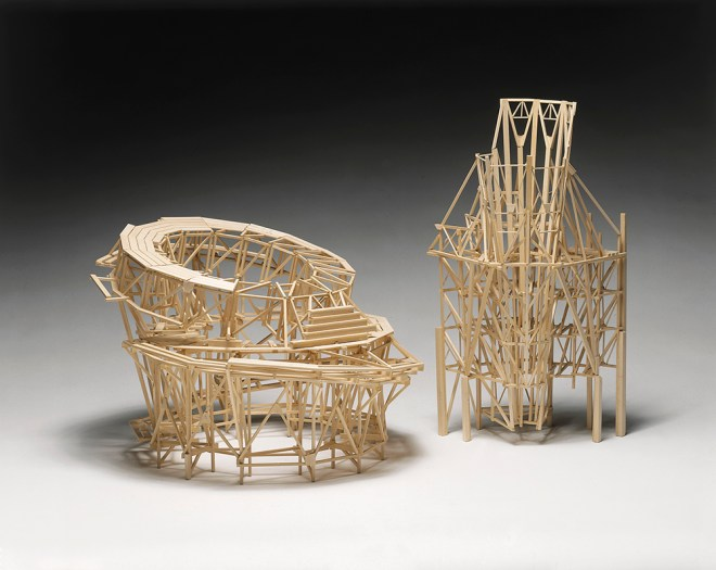 """Project: Hudson River, Floating Panorama Observation Platform (left), Project: Rocket Landing Pad for Skyscraper (right), 2003, Wood, 12 x 12 x 12"""" (left), 16 x 8 x 8"""" (right), Collection of the Washington DC Convention Center"""