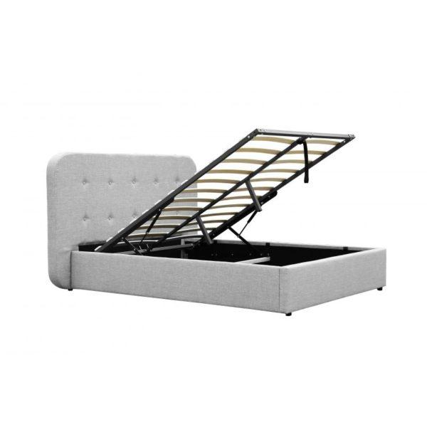 cadre de lit avec tete de lit et sommier a lattes et coffre de rangement en tissu