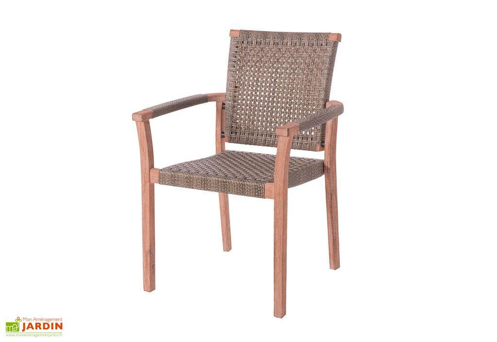 lot de 4 chaises de jardin en bois et rotin tresse frida