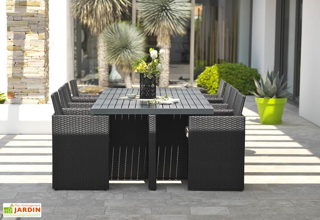 salon de jardin resine tressee encastrable noir 1 table 8 fts