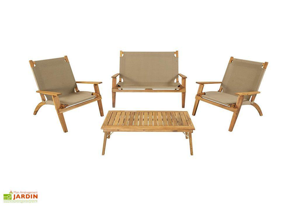 salon de jardin en bois d acacia et tissu 4 places primavera taupe