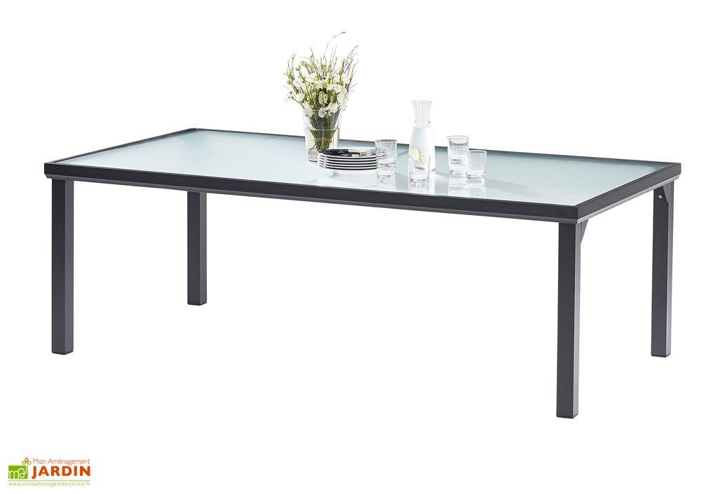 table de jardin en aluminium avec plateau en verre trempe blacksun