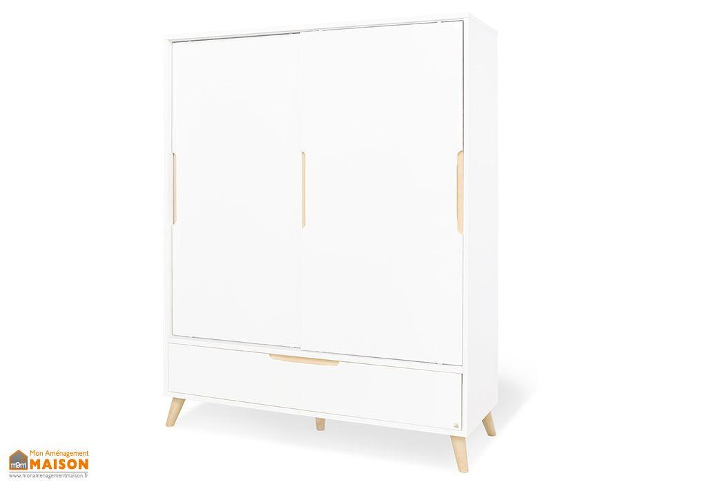 armoire bois et blanc pour enfant 2 portes coulissantes 55 x 150 x 190 cm