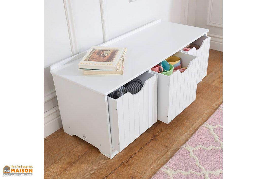 banc de rangement blanc nantucket pour enfant en bois