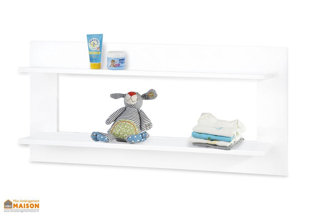 etagere murale blanche en bois pour enfant 91 cm