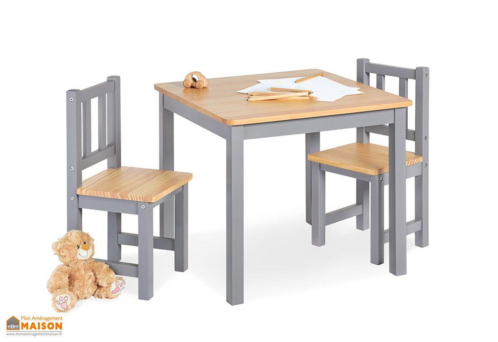 ensemble table et chaises fenna pour enfants bois gris 57 x 57 cm