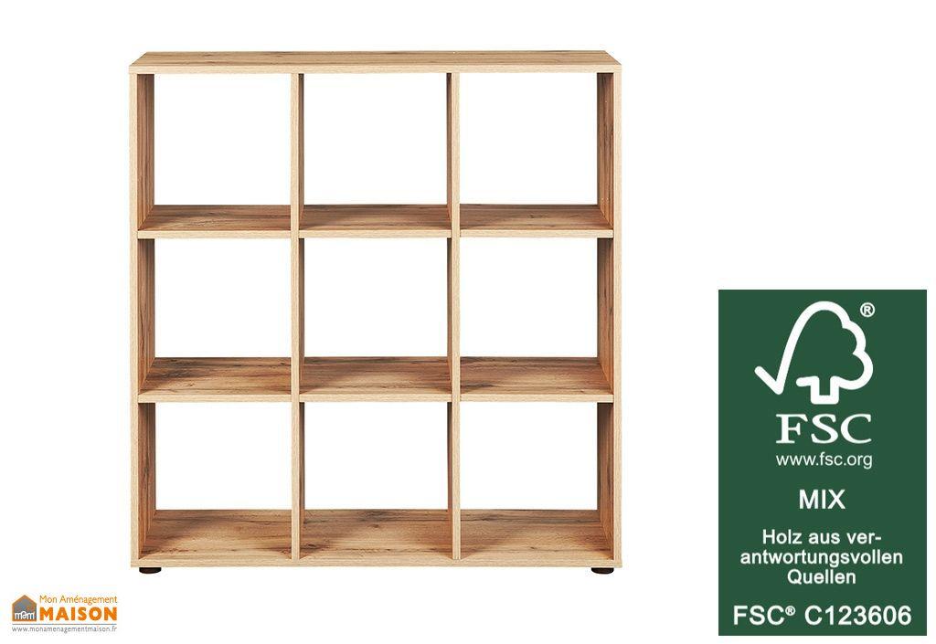 etagere de rangement en bois separateur de piece damian 9 places