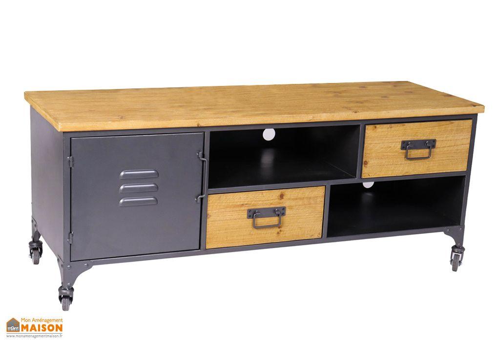 meuble tv en metal et bois de sapin 40 x 120 cm