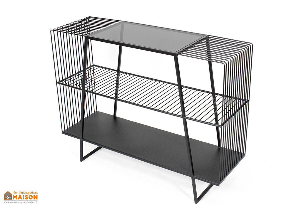 meuble tv en metal et verre noir 32 x 100 cm