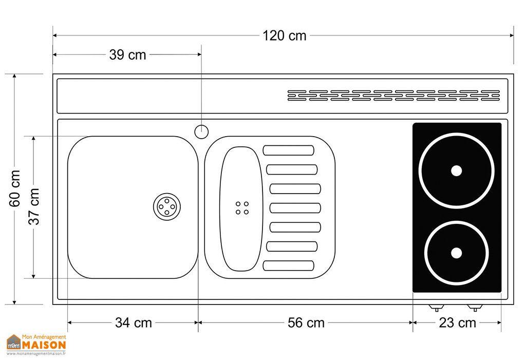 plan de travail en inox 120x60 cm avec evier et plaques vitroceramiques