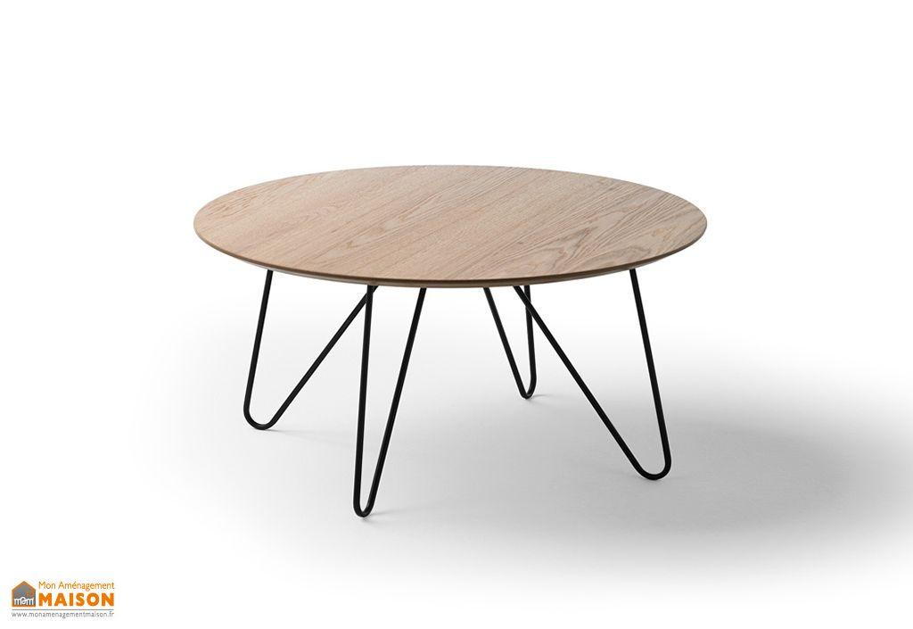 table basse de salon design en bois et metal ronde 80 cm