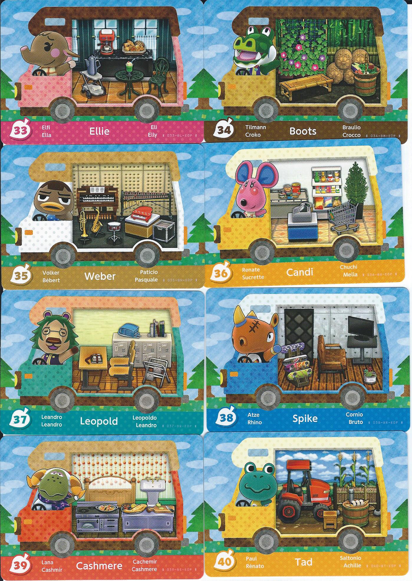 Scans Of All 50 New Animal Crossing New Leaf Amiibo Cards Mon Amiibo Com
