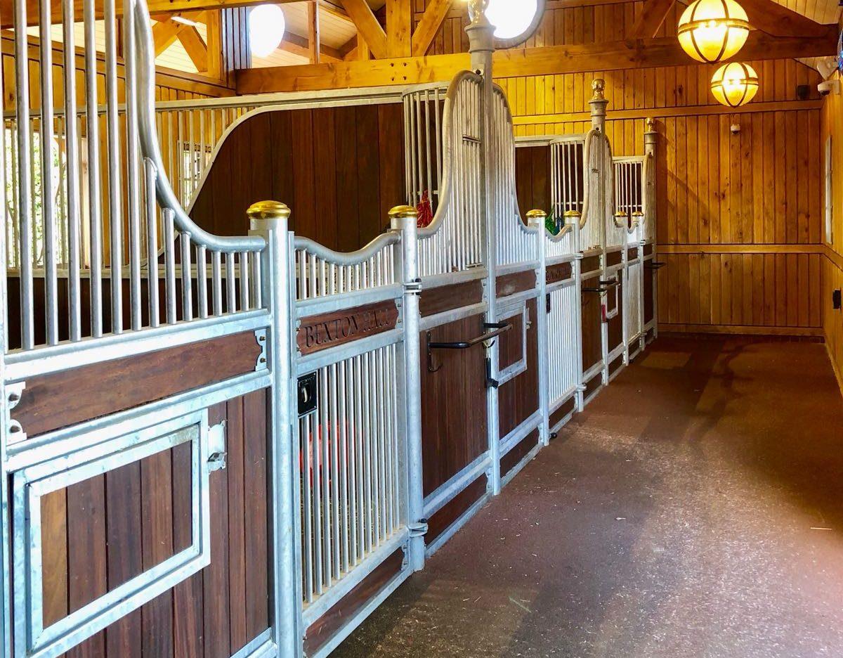 Monarch Equestrian Majestic Edwardian Internal Stables in Hardwood inside a barn